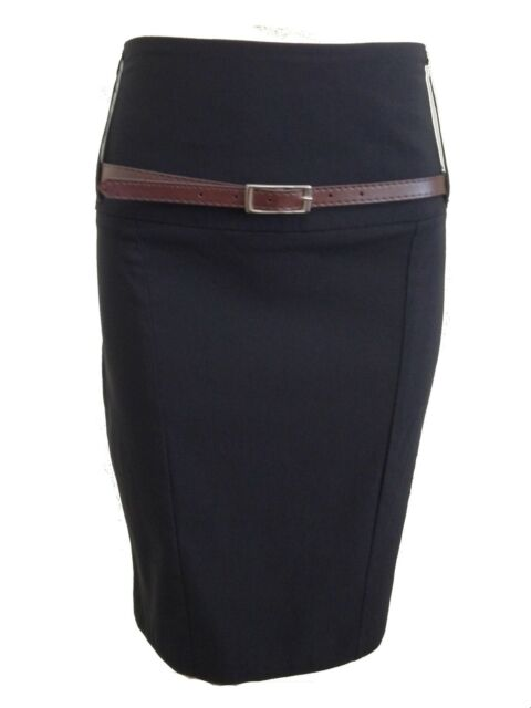 WOMENS BODYCON PENCIL BELTED STRETCH SCHOOL OFFICE WORK SKIRT LADIES  SIZE 6 -16