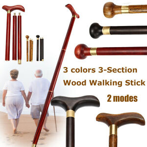 Folding-Vintage-Antique-Walking-Stick-Cane-Sandalwood-Wooden-Handle-Knob-Gift