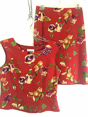 Studio C Women Size 8 2pc Red Floral Sequin Front Top Skirt Linen Rayon Blend