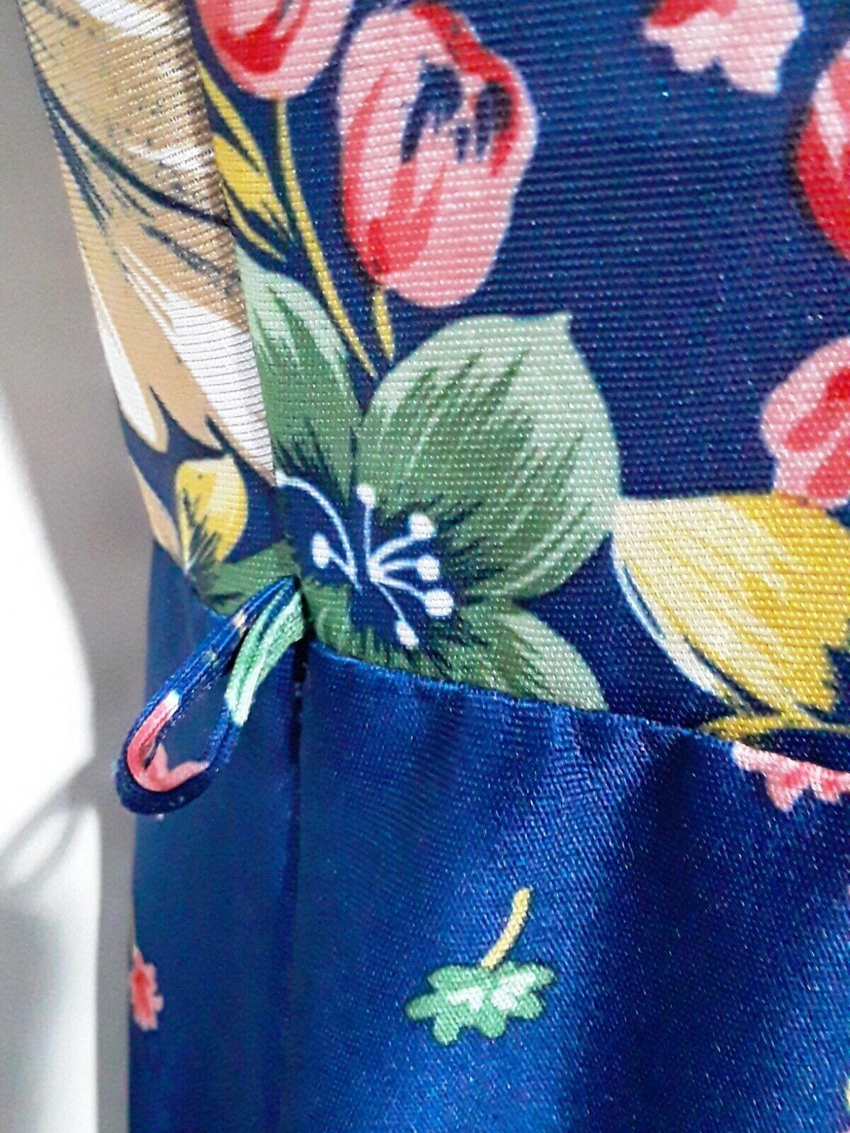 Vintage Ms. Claire Blue Floral House Dress, Size … - image 7