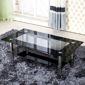 MODERN-BLACK-AND-CLEAR-GLASS-COFFEE-TABLE-RECTANGLE-WITH-CHROME-LEGS-DESIGNER