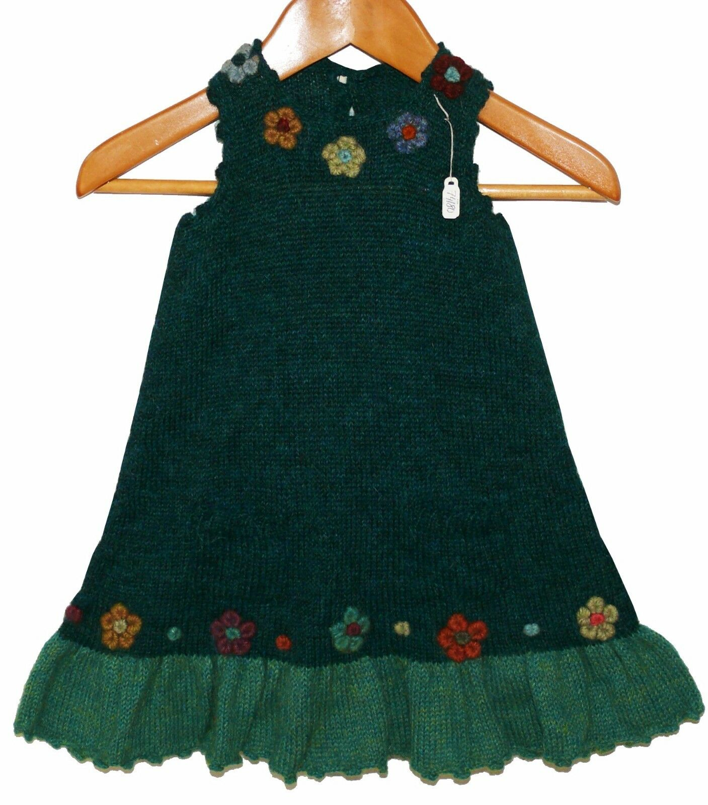 Baby Puppen Alpaka Kleid Blaumen, Gr.74 80, grün petrol, 100% Alpaca Wolle, Peru