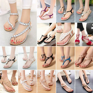 9b5aedef765ea Bohemian Women Lady Sandals Flat Thong Shoes Summer T-Strap Slippers ...