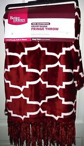 "New BHG Red Quatrefoil Velvet Plush Fringe 50"" x 60"" Throw"