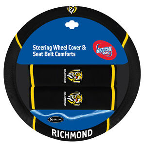 RICHMOND TIGERS Official AFL Steering Wheel Cover and Seat Belt Cover Set