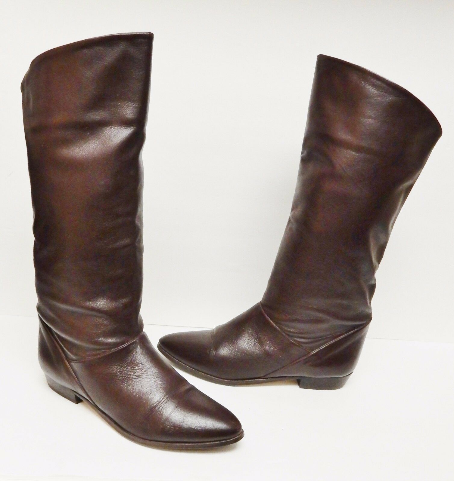 Ellemenno Boots Leather TRAZE Riding Equestrian Western Brown 6.5 M VINTAGE
