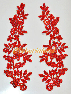 By pair Red Venise Flower Motif Lace Applique Guipure Trims Craft DIY #VL09E
