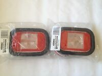 (2 Pc) Peterson Sealed, 5x 3 Clear Back-up Light Kit Surrounded By Red Reflex
