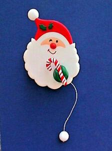 Hallmark-PIN-Christmas-Vintage-WIND-UP-SANTA-Claus-CANDY-CANE-Holiday-Brooch