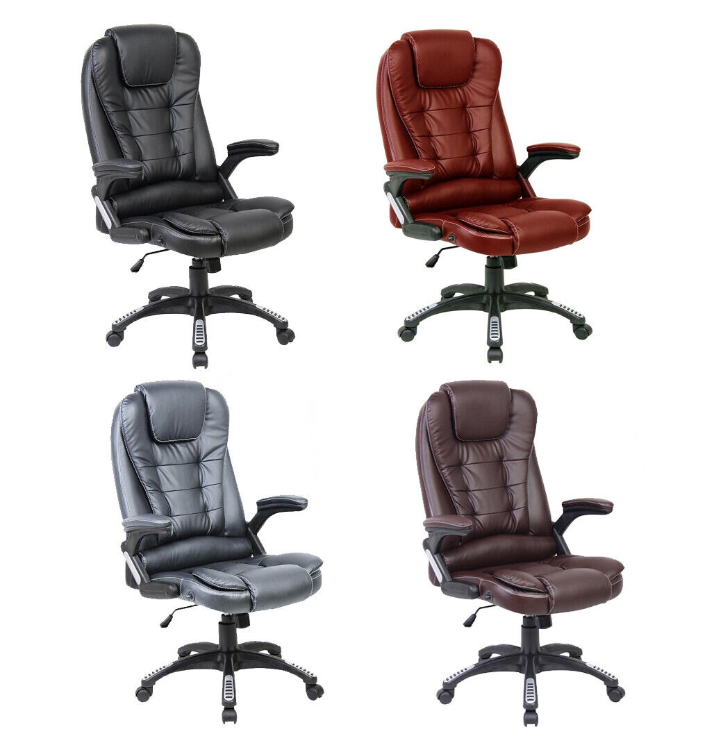 Image of: Neo Executive Leather Gaming Computer Desk Office Swivel Recliner Massage Chair Ebay