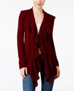 Straightforward Msrp $50 Karen Scott Ruffle-front Cardigan Red Size Large Drip-Dry