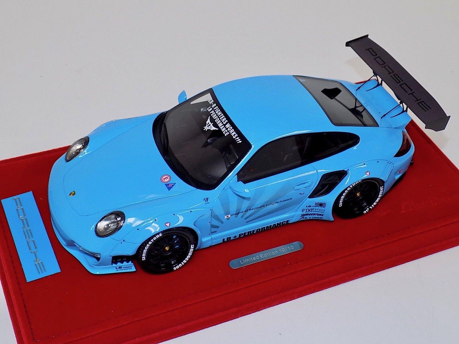 1 18 AB MODELS PORSCHE 911 Liberty Walk LB Performance Baby bleu decals 02 A