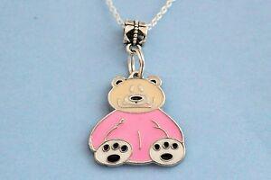 SWEET-LITTLE-GIRLS-PINK-ENAMEL-TEDDY-BEAR-PENDANT-NECKLACE-16IN-42-CM-039-S-CHAIN