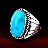 Sterling Silver Turquoise Ring Size 10.5 Native American Made --- R31 A T