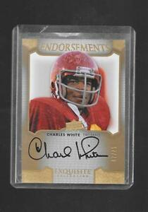 2011 Exquisite - CHARLES WHITE - Endorsements Autograph - USC HEISMAN #d 47/75