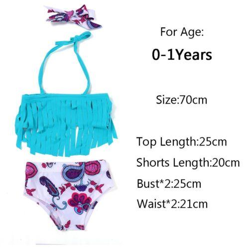 Girls Floral Bikini Hairband+Tops+Pants Set Baby Swimwear Blue Tassels Tops