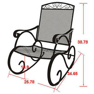 Image Is Loading Porch Rocking Chair Wrought Iron Outdoor Rocker Patio