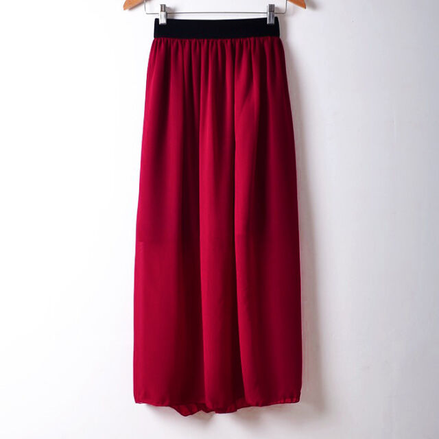 Maroon Maxi Skirt Chiffon Pleated Retro Long Dress Elastic Waist Girl Club Women