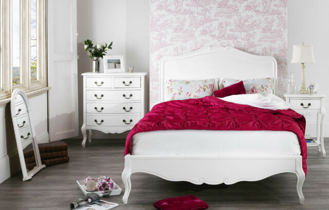 White Painted Pine 4ft 6 Double French Style Bed