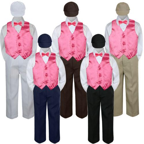 5pc Boys Suit Set Coral Sunset Vest Bow Tie Baby Toddler Kid Uniform Pant S-7