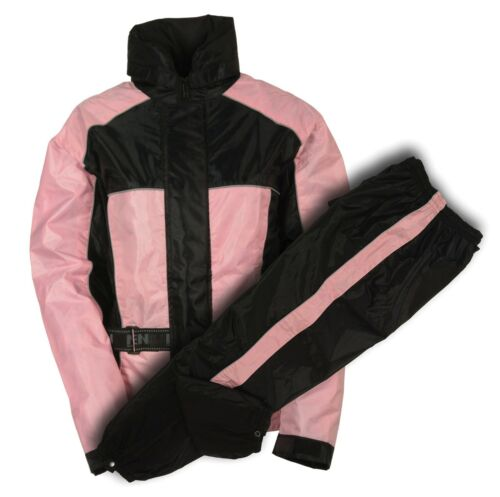 Ladies Black /& Pink Deluxe Rain Suit For Motorcycle Riders w// Reflective Piping