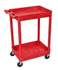 Luxor RDSTC11RD 2 Shelf Rolling Moving Utility Tub Shelves Cart Red Color