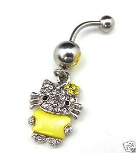 Details About Dangle Belly Button Ring Hello Kitty Yellow Cz Gem Surgical Steel 14g 316l
