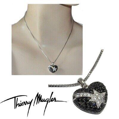 Thierry Mugler Collier Argent Massif 925 Coeur Zirconium Noir Blanc étoile Bijou