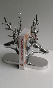 Metal stag head bookend deer head antelope figurine home decor edh ebay - Stag book ends ...