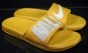 74ab03289 Nike Womens Benassi JDI Print QS Milan Sandals Sz 8 Citron Silver ...