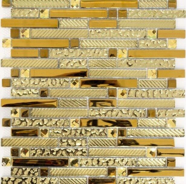 Glasmosaik mix Glas Gold Fliesenspiegel Küche Verblender Art 86-0107   10 Matten