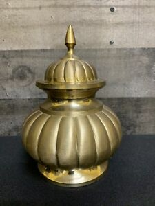 VINTAGE ORNATE BRASS APOTHECARY JAR STORAGE CONTAINER FINIAL LID BOHO