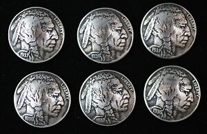 (6) BUFFALO NICKEL CONCHO / BUTTONS/ (FULLY DATED) INDIAN HEAD