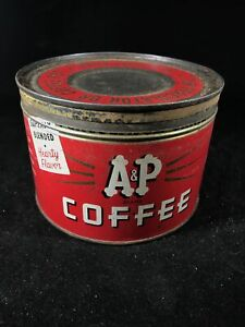 Vintage Coffee Can / Tin 1 Pound - A&P Coffee 40s 50s key open percolator