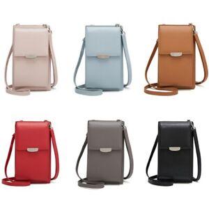 Damen-Handytasche-PU-Leder-Crossbody-Mini-Geldboerse-Brieftasche-Schultergurt
