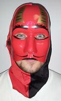 Scary Rigid Plastic Devil Mask With Attached Fabric