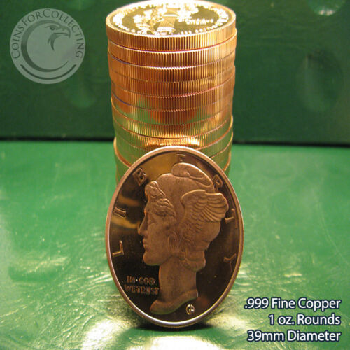 """20 /""""Mercury Dime/"""" 1oz .999 Copper 20 rounds 1 Roll in Tube with Original Back"""