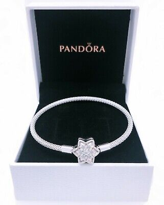 Authentic PANDORA Shine Bright Snowflake Charm Bracelet 925 Silver  598616C01 | eBay