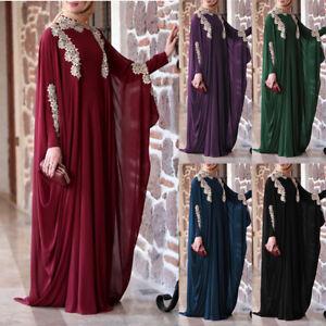 Muslim Women Abaya Long Maxi Dress Islamic Kaftan Dubai Loose Robe Jilbab Gowns