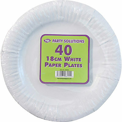 "80x WHITE PAPER PLATES DISPOSABLE 18CM 7"" TABLEWARE PARTY CATERING SERVING ROUND"
