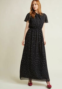 New-Modcloth-Flowy-Printed-Maxi-Chiffon-Dress-Sz-S-Black-with-Tied-Neckline