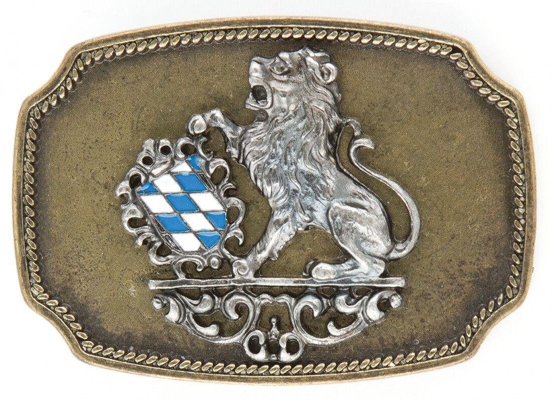 Gürtelschnalle Schließe - Wappen Bayern blau Löwe messing - Geschenk Geburtstag