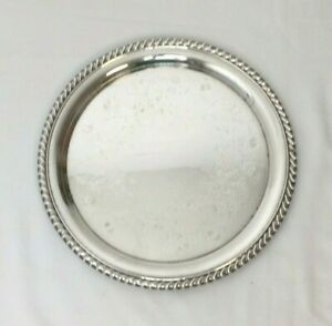 """W M Roger Silver Plate Tray Platter Round Silver 10 1/4"""" Etched"""