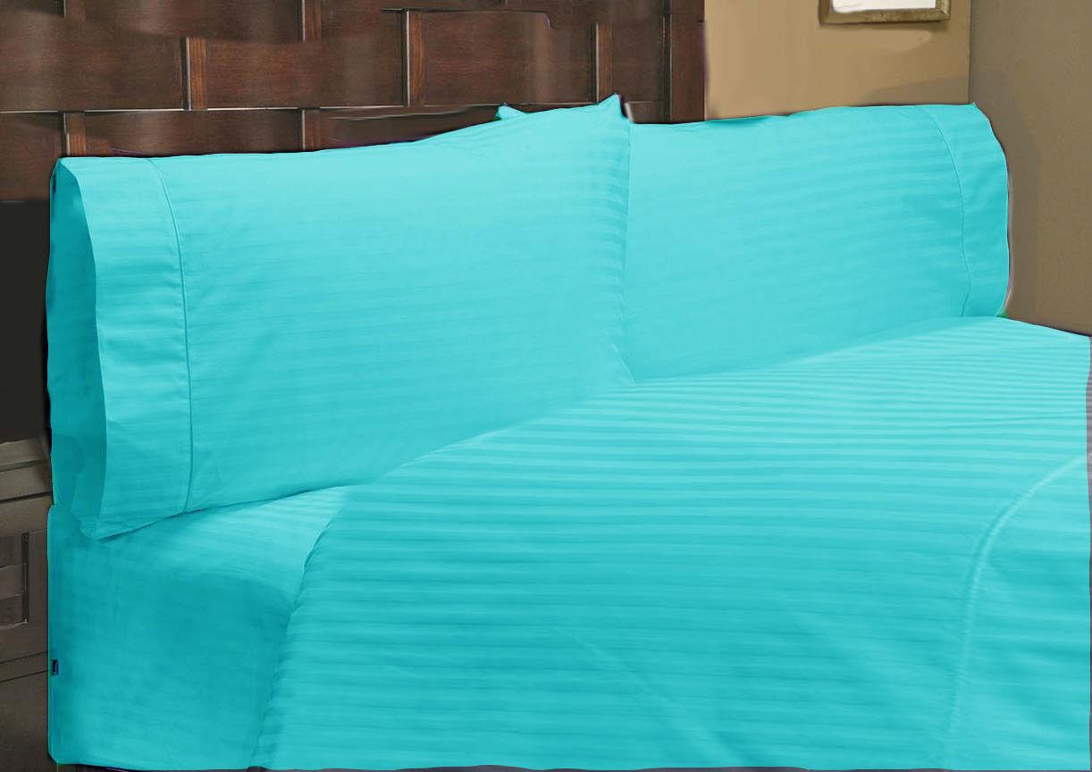 1000 TC Egyptian Cotton Deep Pkt Bedding Items All US Sizes Turquoise Stripe