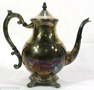 """1883 F.B.Rogers # 2391 Silverplate Tea Pot - Footed Pot - 9"""" Tall - VINTAGE"""