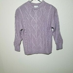 Universal-Thread-Sweater-1X-Chunky-Cable-Design-Knit-Metallic-Purple-Loose-Fit