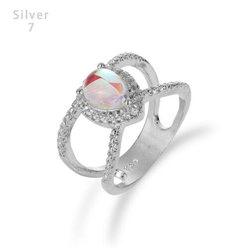 Size 5-10 Double Band Teardrop Moonstone Ring  Crystal Rhinestone Rainbow Stone