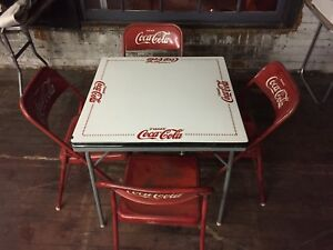 Rare coca cola table with 4 chairs vintage mexico tome coke porcelain top ebay - Coca cola table and chairs set ...