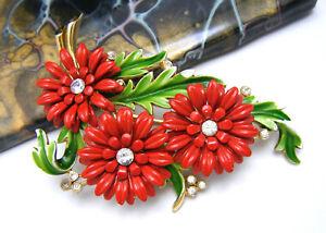 Crown-Trifari-Vintage-Enamel-Rhinestone-Flower-Brooch-Red-Green-Gold-Tone