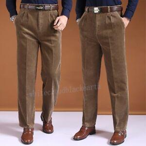 Men High Waist Corduroy Casual Stripe Business Suit Pants Loose
